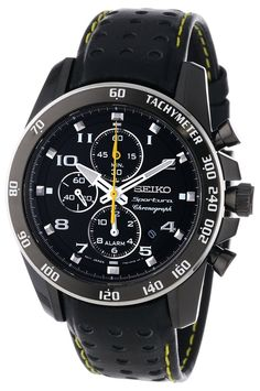 Seiko Sportura Black Dial Black Leather Band Mens Watch #seiko #watch #men