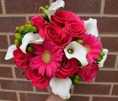 Hot Pink and White Wedding Bouquet add stargazer lilies