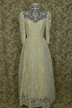 1970s Luscious Lace w Illusion Neckline | Vintage Wedding