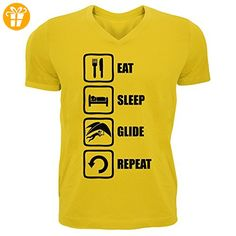 Eat Sleep Glide Repeat Black Graphic Men's V-Neck T-shirt XX-Large (*Partner-Link)