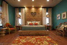 like the set up, headboard, lighting, and windows but use different color scheme