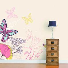 Butterfly Wallpaper Mural Feature wall for kids bedroom Pink Bedroom For Girls, Pink Bedrooms, Feature Wallpaper, Wall Wallpaper, Bird Bedroom, Bedroom Themes, Bedroom Ideas, Mural Wall Art, Butterfly Wallpaper