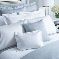 Pale Blue: Bed Linens- really pretty and so calming.