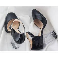 Jenna Siyah Rugan Şeffaf Topuklu Ayakkabı