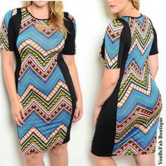 Blue Tribal Print Plus Bodycon Dress size 1x Dress is a size 1x. Material of dress is 95% polyester and 5% spandex and dress does have stretch. Measurements: bust- 36 inches waist-34 inches hip- 38 inches and length- 39 inches(all measurements are taken lying flat and unstretched). Bundle 2 or more items and save 10% off total. If you have any questions please feel free to ask. Thanks for looking and stay fab!!!! Dresses