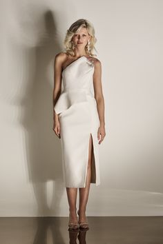 ea1aa98f524 Juno Dress - F.18 One shouldered peplum dress with beading detail on the  shoulder