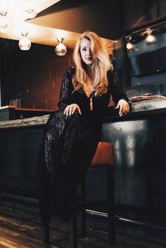 Caroline Margaret Studio | Nashville Style Blog, Effortless Glam, Relaxed Gown, Black Long Sleeve Low neck dress, nashville fashion, naked wardrobe