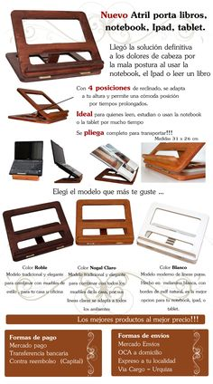Atril De Madera Porta Notebook Netbook Ipad Tablet Y Libros - $ 279,99 en MercadoLibre