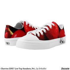 Cherries ZIPZ® Low Top Sneakers, Printed Shoes