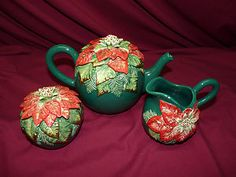 Vintage Fitz and Floyd Christmas Holiday Tea Pot Set w/ Sugar Bowl and Creamer $62.00 - SOLD
