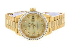Rolex Datejust Ladies President #Rolex #Luxury Rolex Watches For Sale, Ebay Watches, Rolex Women, Rolex Datejust, Gold Watch, Bracelet Watch, Luxury, Lady, Accessories
