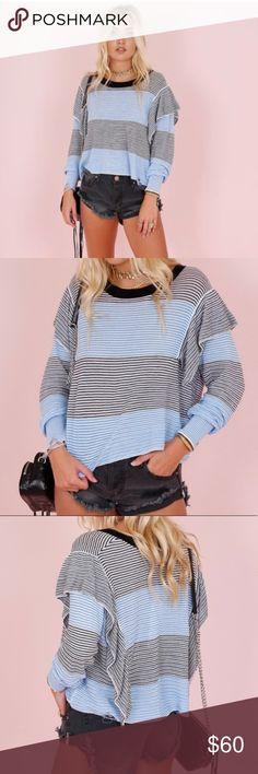 4a1290b3e4d5 Wildfox Aura Striped Ruffle Sweater NWOT Size Medium This striped
