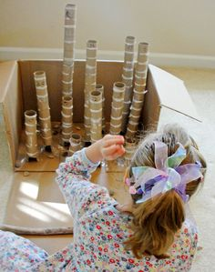 Rolly Rocky Holey game - combines some of C's favorite things - rocks and paper towel rolls! Crafts To Do, Crafts For Kids, Diy Crafts, Fun Games For Girls, Cardboard Crafts, Cardboard Boxes, Earth Day Crafts, Kids Canvas, Birthday Games
