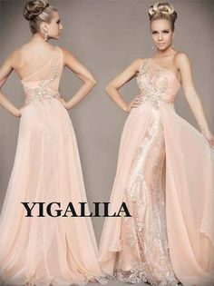 Lady dress/bridesmaid dress/wedding/prom dress/SILK CHIFFON/BLUSH/one-shoulder/lace/blush pink