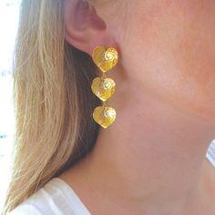 Heart Shaped Earrings, Gold Drop Earrings, Wedding Earrings, Dangle Earrings, Handmade Gifts For Her, Matching Necklaces, Gold Jewelry, Jewellery, Gifts For Women
