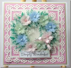 Birthday Wreath--made with various colors of vellum and Martha Steward punches