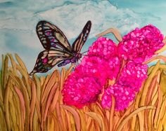 Butterfly 1 in alcohol ink by me, Laurie Henry.  Copyright 2013.