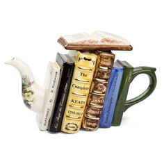 Bookish teapot I would probably want my favorite books instead; Teapots Unique, Ideas Prácticas, Gift Ideas, Cafetiere, Gadgets, Teapots And Cups, Poetry Books, Writing Poetry, Chocolate Pots