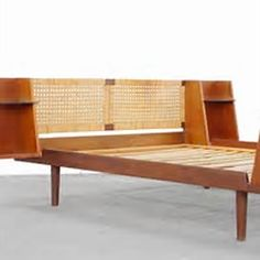 Size Bed With Cane Headboard by Hans Wegner Danish Modern at 1stdibs