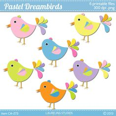 pastel bird clip art scrapbook supplies spring by LaurelingStudios, $2.99