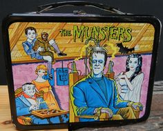 "vintagelunchboxarchive: "" 1965 The Munsters Lunch Box (back) "" * HAVE YOU SEEN THE LUNCH BOX ARCHIVE? Go Now!"