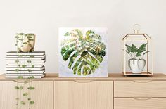 patterned plant artwork mostera leaf painting  tropical