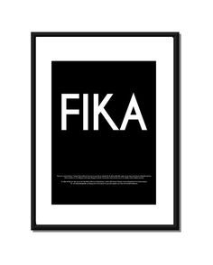 FIKA - Swedish or English text.  Luxury poster print. Size A3 on Etsy, $30.00