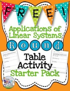 Great cooperative learning activity for your students to use during a Systems of Linear Equations Unit. Students will apply their knowledge of writing and solving systems of equations to word problems.