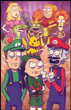 Working on a slew of new prints for an upcoming show, the Long Island Retro Games Expo Here's my Mike Vasquez's and my Rick and Morty meets Smash . COLLAB PRINT - Rick and Morty Meet Smash Bros Cartoon Kunst, Cartoon Art, Super Smash Bros, Cartoon Wallpaper, Crazy Wallpaper, Rick And Morty Crossover, Rick Und Morty, Image Zelda, Rick And Morty Poster