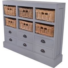 Bring cottage-chic style to your living room or entryway with this lovely cabinet, showcasing 6 drawers and 6 wicker baskets for stowing remotes or outdoo...