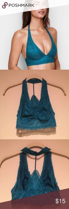 Victoria's Secret Racerback Bralette in Teal NWT!!! Victoria's Secret Deep V Racerback Bralette in Teal blue!! This lacey bralette is unlined and pull over style. Has sexy racerback detail. Absolutely perfect to show off under a tank. Size Medium. Discounts applied to bundles of 3 or more and returning customers!! Victoria's Secret Intimates & Sleepwear Bras