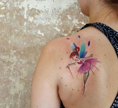 Watercolor Tinkerbell tattoo by Simona Blanar