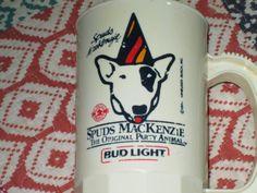 Spuds MacKenzie Bud Light Party Animal vintage mug 1986 dog lawn chair