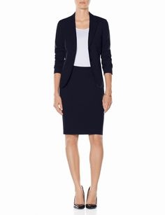 Career fair & interview outfit: The Limited Navy Collection Slanted Pocket Jacket & Pencil Skirt