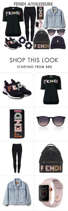 """Fendi Athleisure"" by abigailetom ❤ liked on Polyvore featuring Fendi, Ray-Ban, Alo, Gap, Apple, Polo Ralph Lauren and fendi"