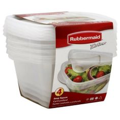 Rubbermaid Takealongs Containers + Lids, Deep Square, 42 Oz (5.2 Cups), 4 Containers by kr. $13.99