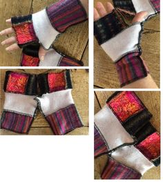 Recycled sweater fingerless gloves with felt accents. Texting gloves, office gloves, finger free gloves, fingers out gloves, mitts