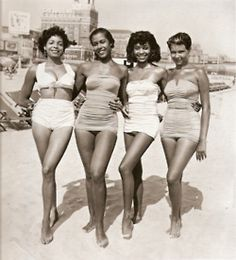 VINTAGE  Women at the beach in the 1950s