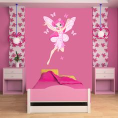 Vinyl Wall Stickers : Flying Fairy Wall Stickers For Room In Pink Shades. Butterfly Wall Stickers, Vinyl Wall Stickers, Girls Bedroom, Bedroom Decor, Toddler Bed, Cool Designs, Fairy, Wall Art, Interior Design