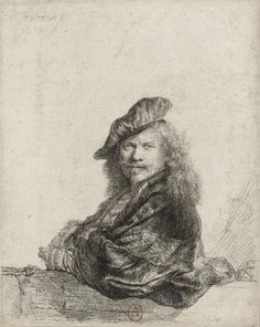 """The Denver Art Museum is the sole venue for """"Rembrandt: Painter as Printmaker"""" on view through Jan. Rembrandt van Rijn, Self-Portrait Leaning on a Stone Sill, Etching. Image courtesy of BnF. Rembrandt Etchings, Rembrandt Self Portrait, Rembrandt Drawings, Leiden, Städel Museum, Web Gallery Of Art, National Gallery, Dutch Painters, Dutch Artists"""