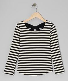 Black & Ivy Stripe Bow Top by Monteau Girl  - I like the bow in the back, but it dips too low.  It can definitely go up a bit for a little tween.  You could also put a piece of stretch lace on the inside of the bow for more coverage.