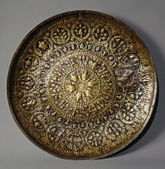 Tray, 9th-10th century, Iran, bronze, State Hermitage. Tree of life, flower rosettes and islimi patterns
