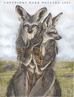 Two Bat eared foxes renew their bonds on the African plains, art of Dark Natasha