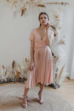 Midi Dress Blush — We Are Flowergirls Ibiza Wedding, Summer Wedding, Drapery Wedding, Convertible Dress, Jumpsuit Dress, Slow Fashion, Wedding Season, Designer Dresses, Perfect Fit