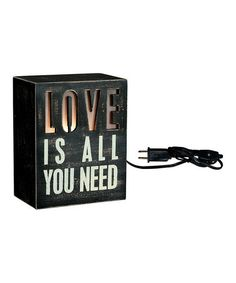 Black '#Love is All You Need' Box Light from Primitives by Kathy on #zulily
