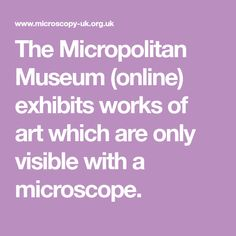 The Micropolitan Museum  (online) exhibits works of art which are only visible with a microscope.