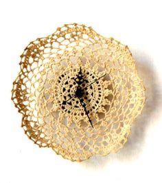 Siesta Stiffened Crochet Doily Clock by Stanley Ruiz