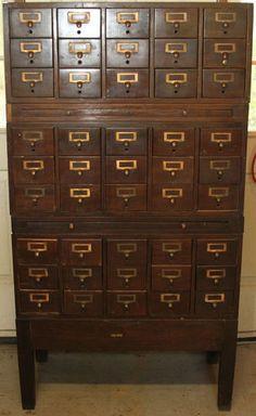 Antique Globe Wernicke Library Card Catalog Cabinet 45 Drawers 2 Sliding Shelves   eBay