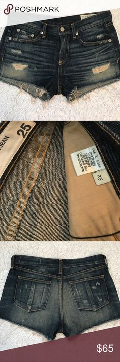 Rag & Bone Denim Shorts. Size 25 Dark blue distressed denim shorts with raw hem. Whiskering throughout. Worn only once. Great condition. rag & bone Shorts Jean Shorts