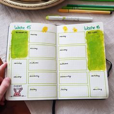 "Gefällt 8 Mal, 1 Kommentare - Leona (@journaling_with_carameleo) auf Instagram: ""Weeky Spread 15/16 💛💚🐇"" Notebook, Bullet Journal, Instagram, The Notebook, Exercise Book, Notebooks"